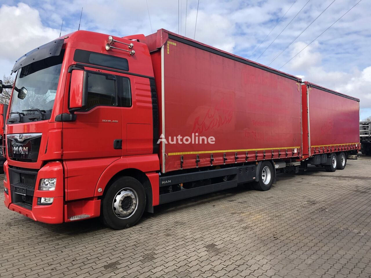 грузовик штора MAN TGX 18.480 XXL Euro 6 kompletter Zug/with Trailer Durchlader + прицеп штора